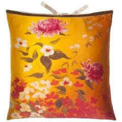 Silk Print Throw Pillow Marigold Garden