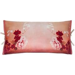 Silk Print Throw Pillow Pink Rose