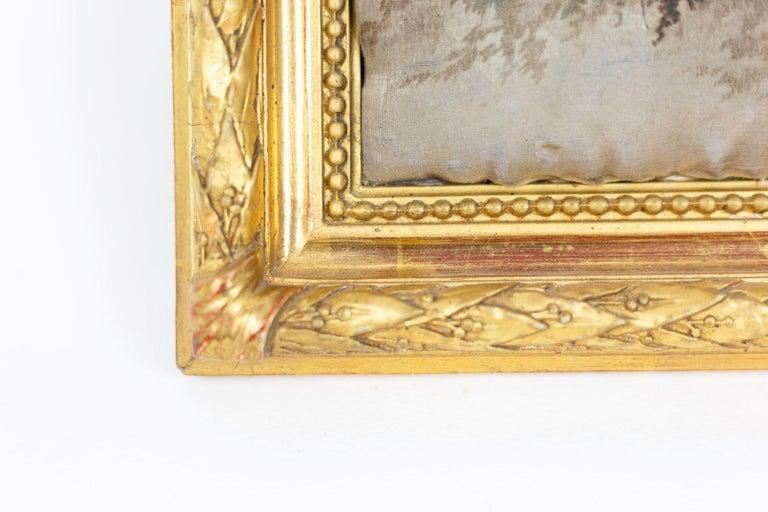 Late 19th Century Silk Printing, Romantic Scene, 19th Century For Sale
