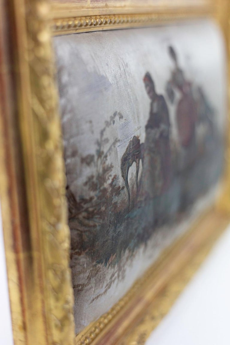 Giltwood Silk Printing, Romantic Scene, 19th Century For Sale