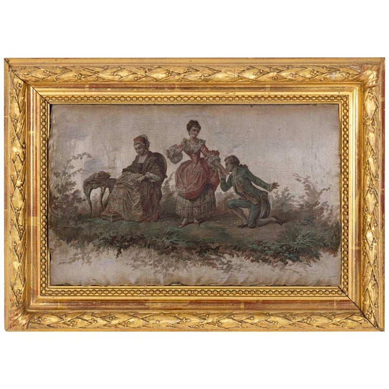 Silk Printing, Romantic Scene, 19th Century For Sale