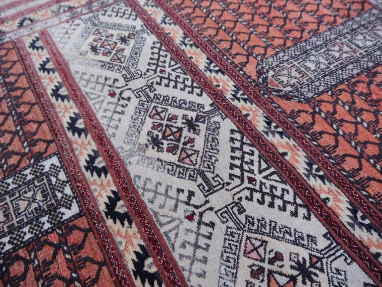 Part silk rug Hatchlu Engesi tribal vintage carpet from Afghan Turkoman tribe,