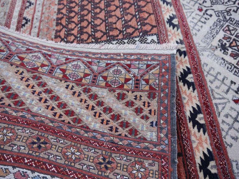 Hand-Knotted Part Silk Rug Hatchlou Engsi Tribal Vintage Carpet from Afghan Turkoman Tribe For Sale