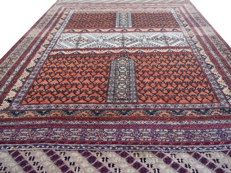 20th Century Part Silk Rug Hatchlou Engsi Tribal Vintage Carpet from Afghan Turkoman Tribe For Sale