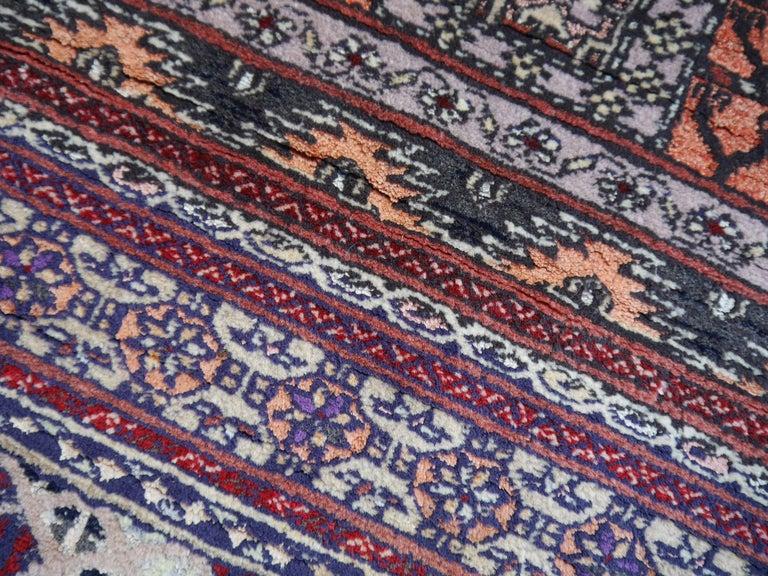 Wool Part Silk Rug Hatchlou Engsi Tribal Vintage Carpet from Afghan Turkoman Tribe For Sale
