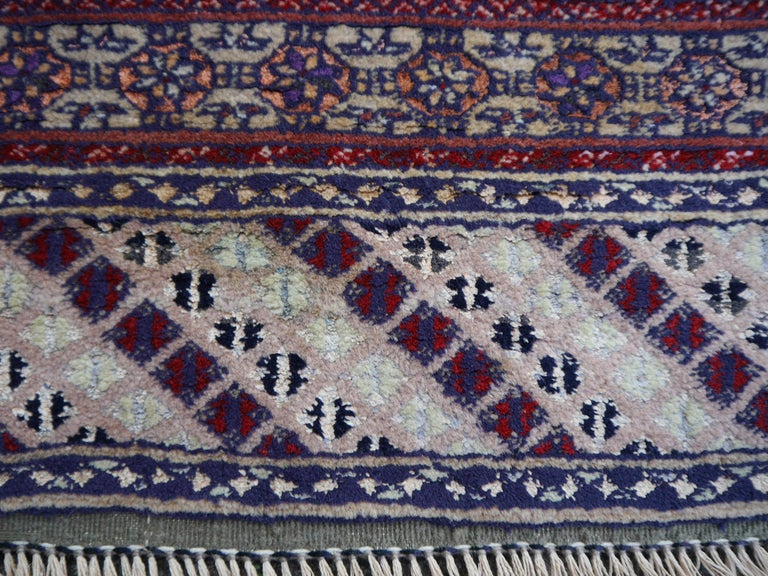 Part Silk Rug Hatchlou Engsi Tribal Vintage Carpet from Afghan Turkoman Tribe For Sale 1