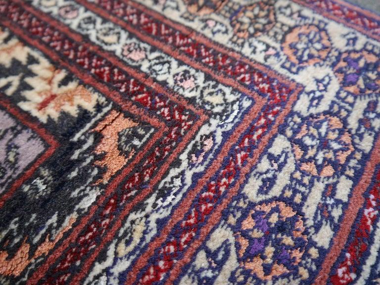 Part Silk Rug Hatchlou Engsi Tribal Vintage Carpet from Afghan Turkoman Tribe For Sale 2