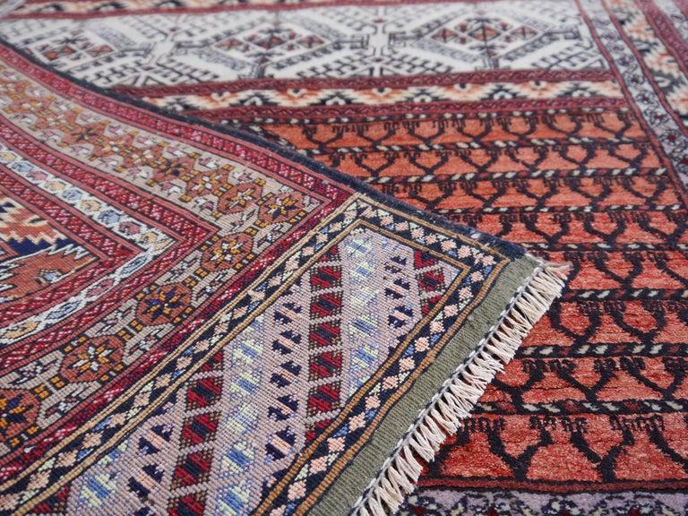 Part Silk Rug Hatchlou Engsi Tribal Vintage Carpet from Afghan Turkoman Tribe For Sale 3