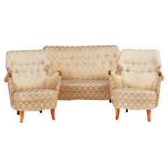 Silk Satin Set with Sofa and Two Armchairs
