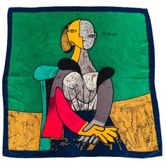 """Silk Scarf Portrait of """"Femme Assise"""" after Picasso"""