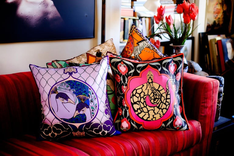 Other Silk Snake Arabesque Pillow Small For Sale