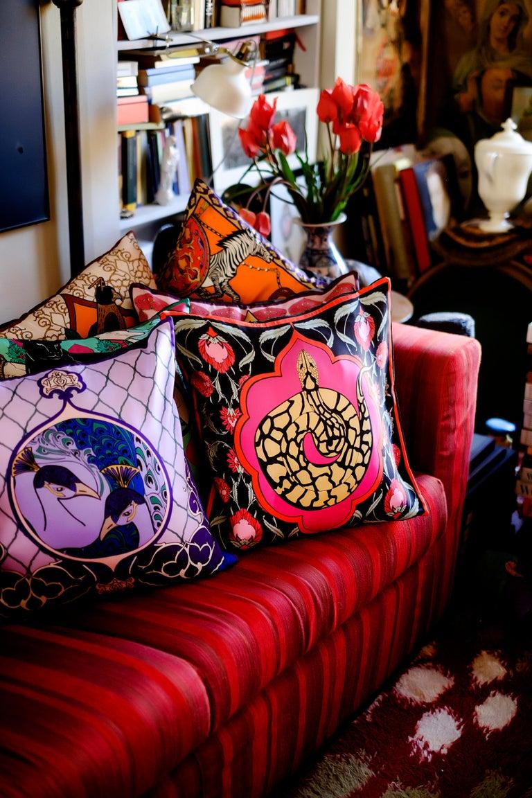 Italian Silk Snake Arabesque Pillow Small For Sale