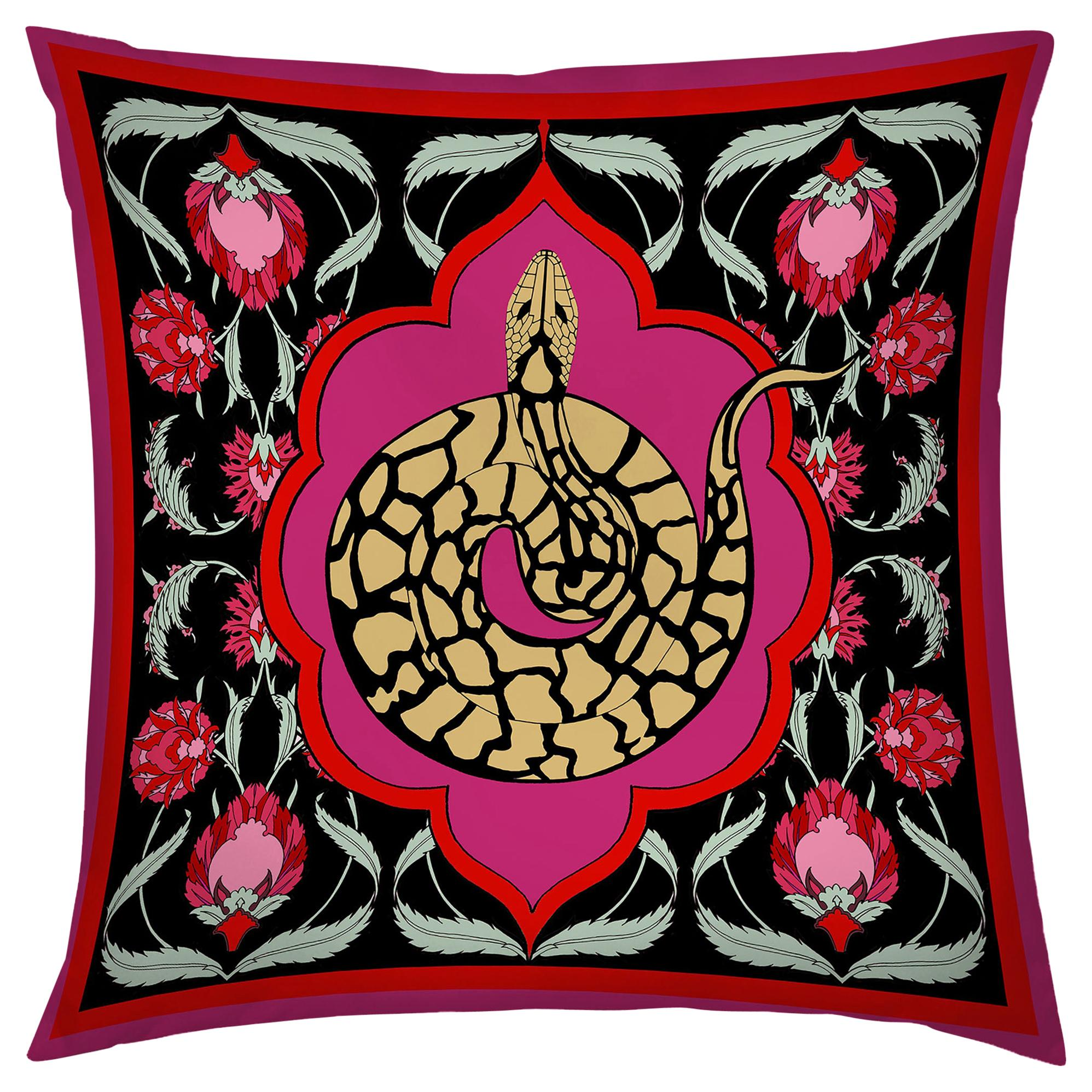 Silk Snake Arabesque Pillow Small