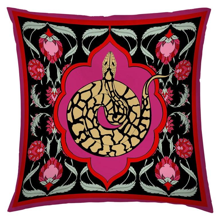 Silk Snake Arabesque Pillow Small For Sale