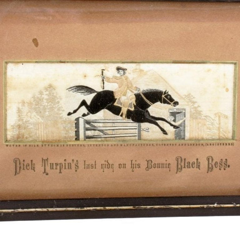 A Victorian woven silk Stevengraph of Dick Turpin jumping a toll gate.