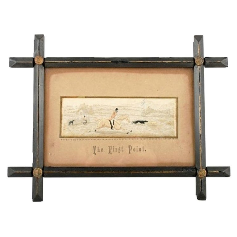 """Silk Stevengraph """"The First Point"""", 19th Century For Sale"""
