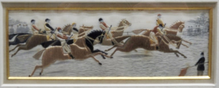 Collection of Thomas Stevens of Coventry woven pictures. Includes a series of horses in a set of five scenes, done in a Stevengraph. Beautiful silk threading including gold threads. The series is framed with a mat with gold around each. The black