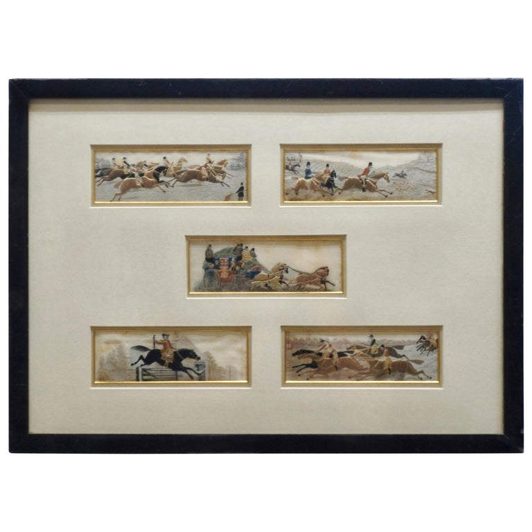 Silk Stevengraphs Horse Theme by Thomas Stevens For Sale