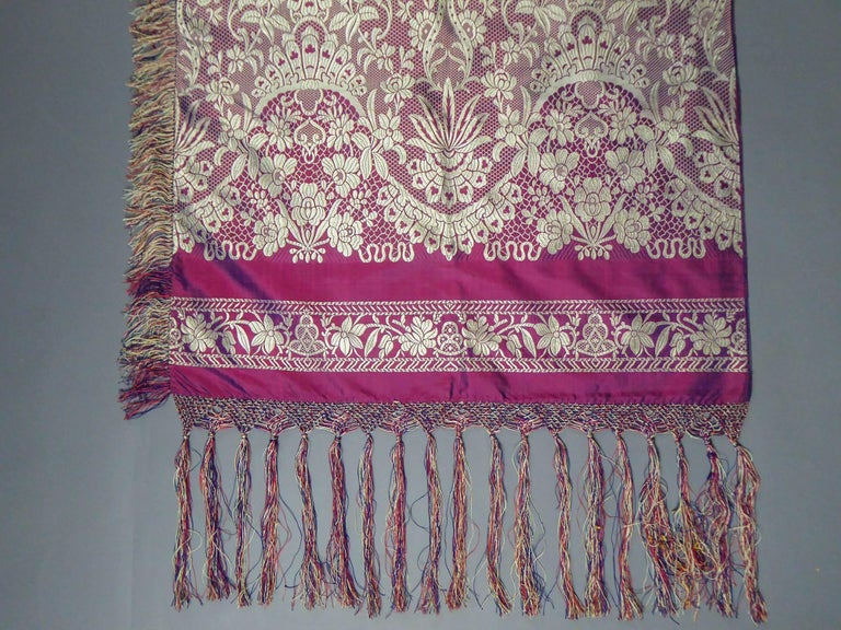 Pink 19th century Silk Stole With Lace design, Lyon France   For Sale