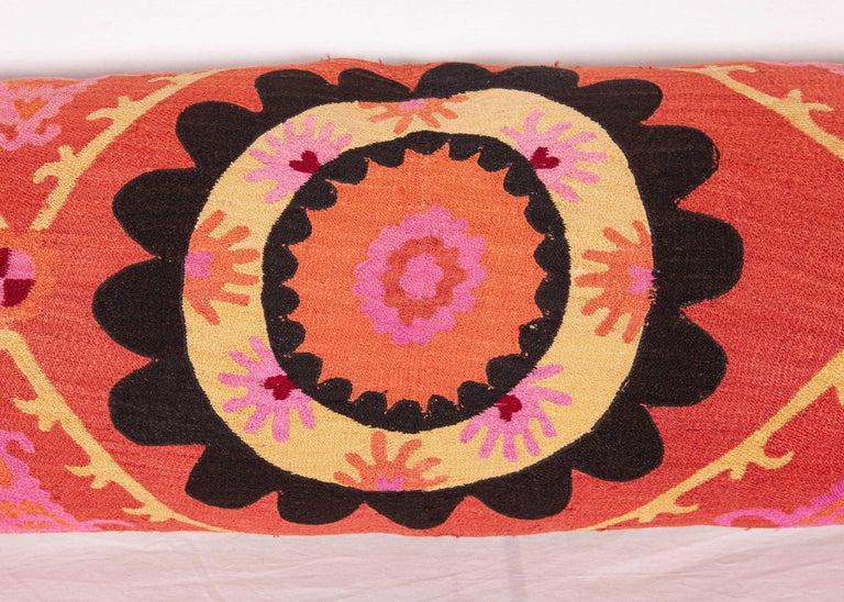 Uzbek Silk Suzani Body Pillow / Lumbar Fashioned from an Early 20th Century Suzani For Sale