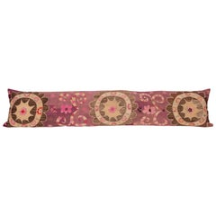 Silk Suzani Body Pillow / Lumbar Fashioned from an Early 20th Century Suzani