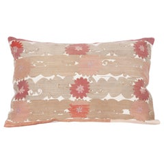 Silk Suzani Pillow Case Fashioned from an Early 20th Century Suzani