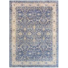 Handwoven Silk Tabriz Revival Rug