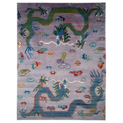 Silk Tibetan Double Dragon Rug