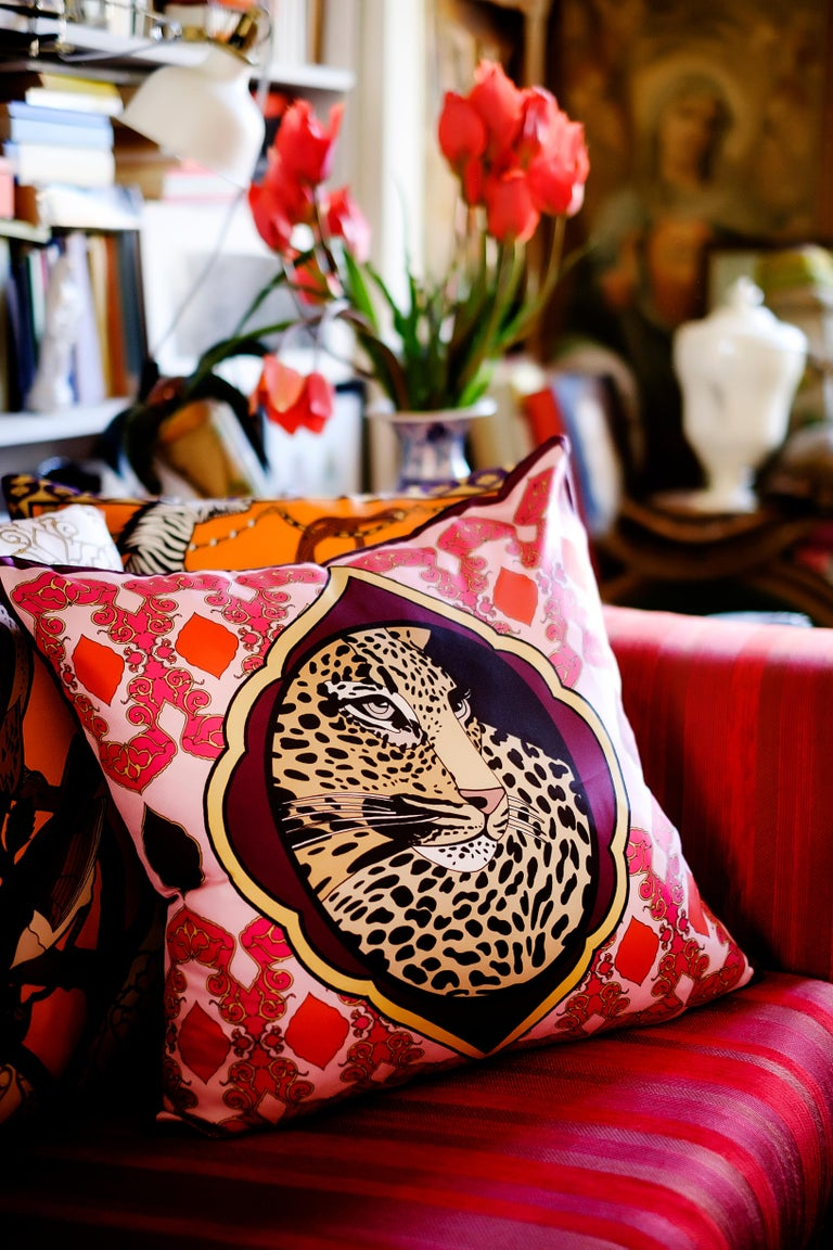 Other Silk Tiger Arabesque Pillow For Sale