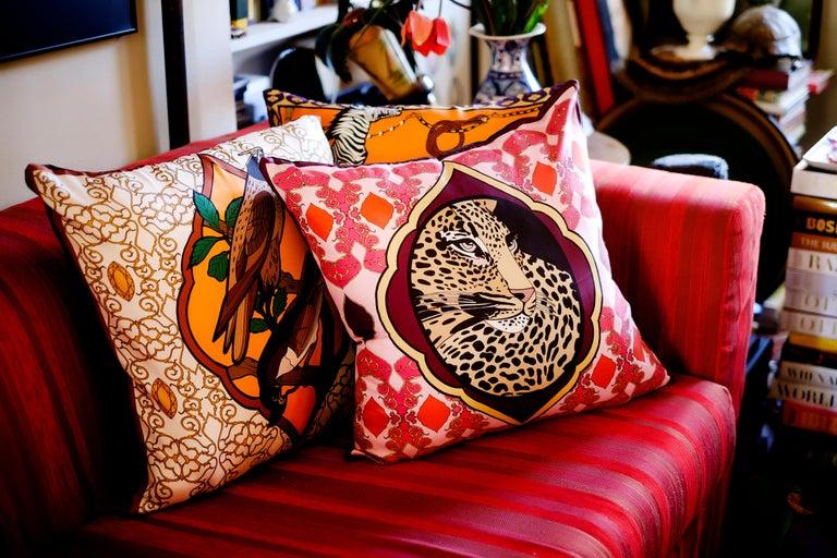 Italian Silk Tiger Arabesque Pillow For Sale