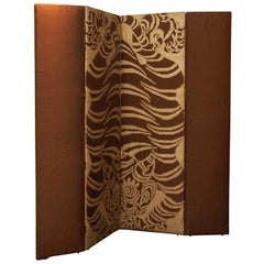 Silk Upholstered Screen with Asian Tiger Motif
