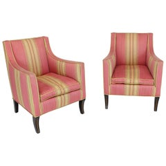 Silk Upholstery Down Filled Art Deco Neoclassical Compact Arm Club Chairs