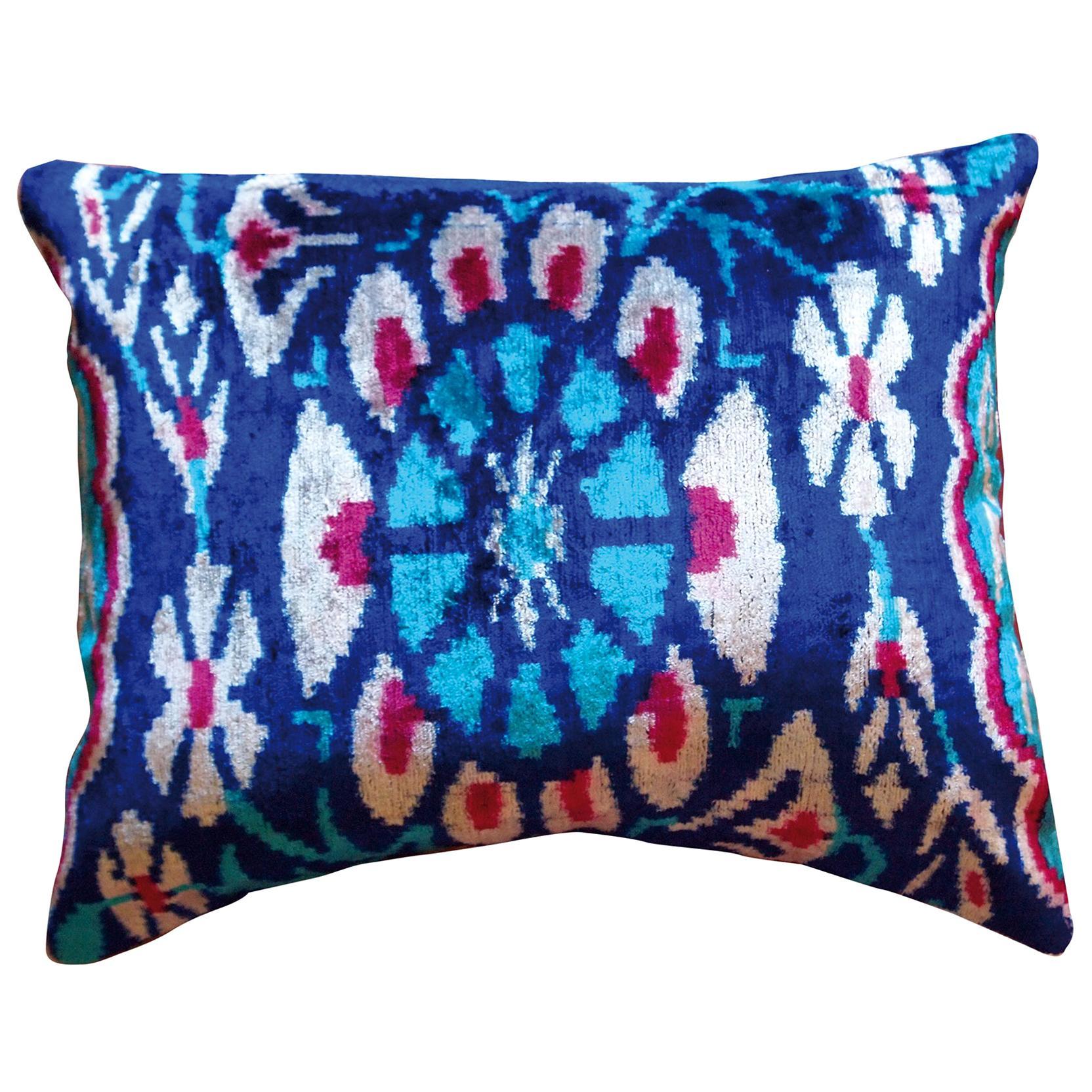 Silk Velvet Blue Flower Cushion