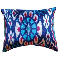 Silk Velvet Blue Flower Cushion
