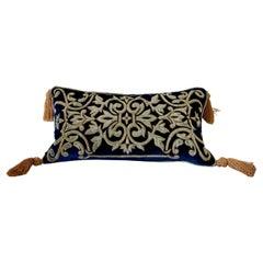 Silk Velvet Bolster Pillow, Embroidered with Gold Velvet Applique