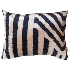 Silk Velvet Cushion B/W Stripes