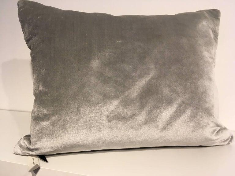 Modern Silk Velvet Cushion Pleated Opal Pattern Embossed Color Ice Green For Sale