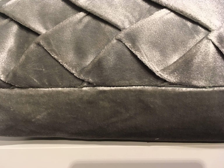 German Silk Velvet Cushion Pleated Opal Pattern Embossed Color Ice Green For Sale