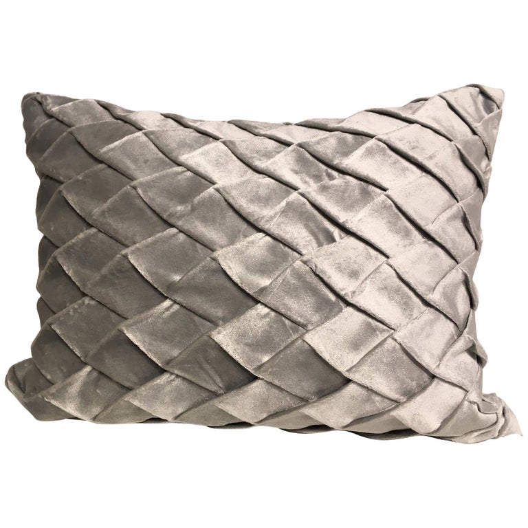 Silk Velvet Cushion Pleated Opal Pattern Embossed Color Ice Green For Sale