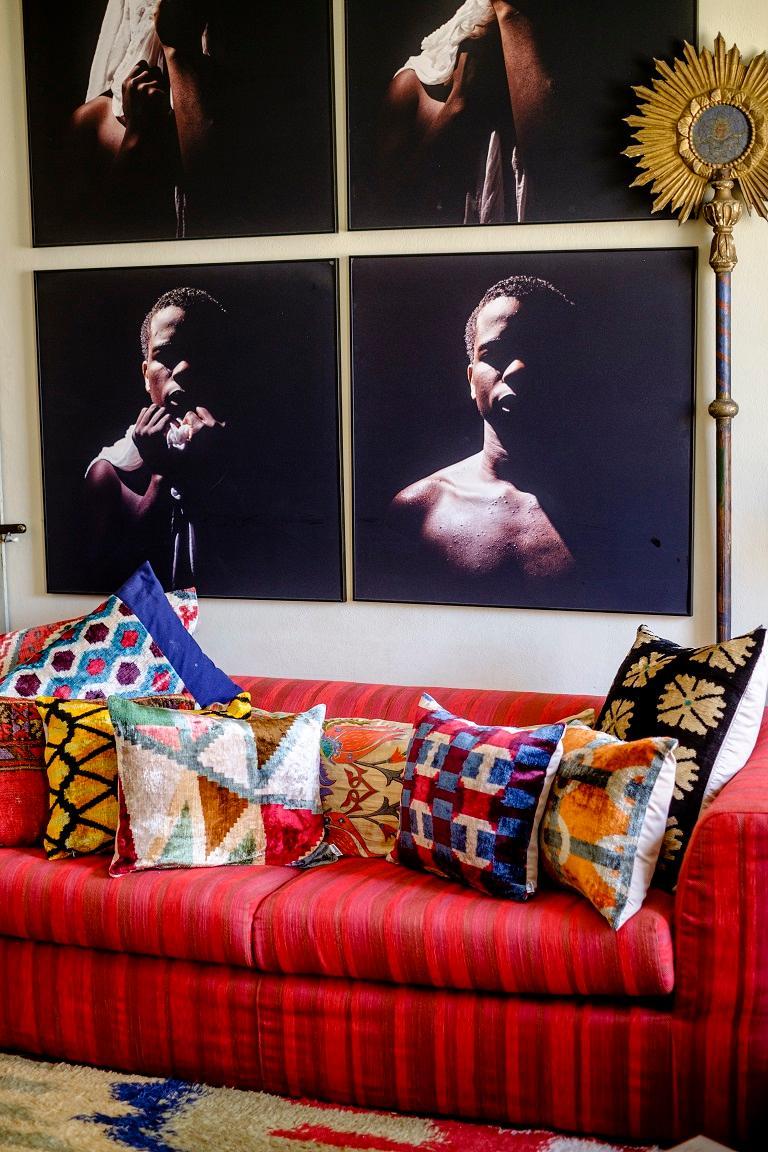 Hand-Woven Silk Velvet Cushion v100 For Sale