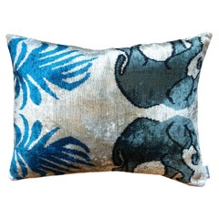 Silk Velvet Elephants Cushion