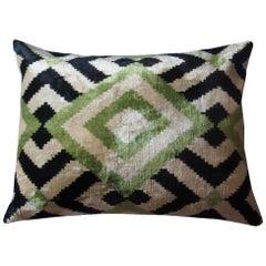 Silk Velvet Green Square Pillow