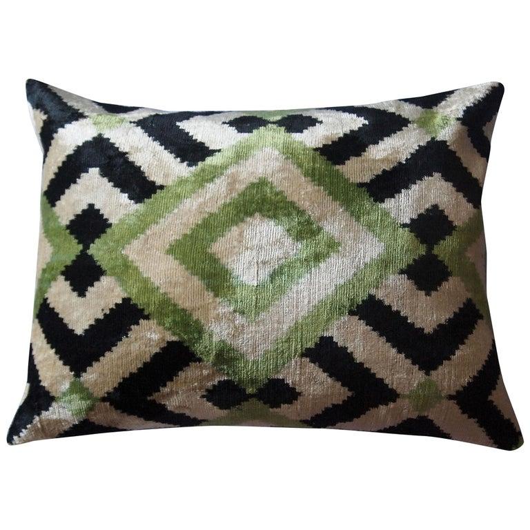 Silk Velvet Green Square Pillow For Sale