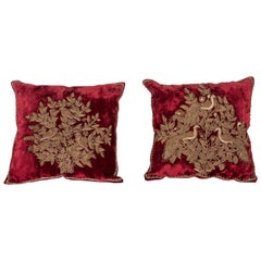 Silk Velvet Pillow Cases with Metallic Embroidery from India, Early 20th Century