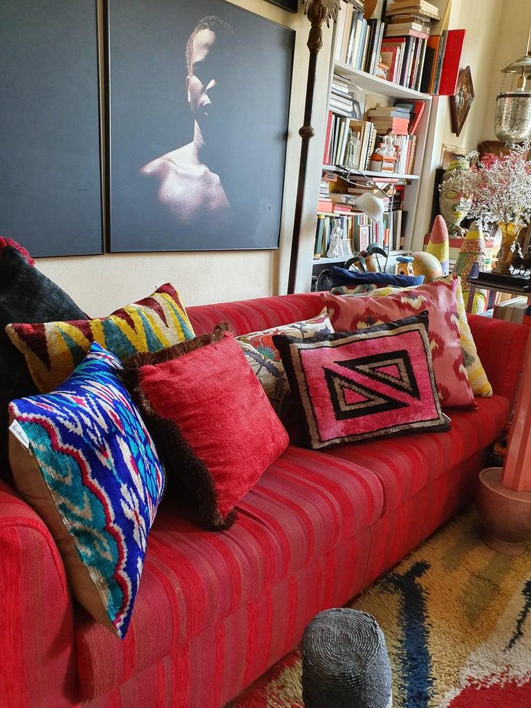 Italian Silk Velvet Pınk Square Cushion For Sale