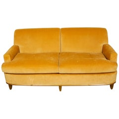 Silk Velvet Sofa in Art Deco Style with Giltwood Frame and Feet