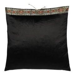 Silk Velvet Throw Pillow Black Flat Pile