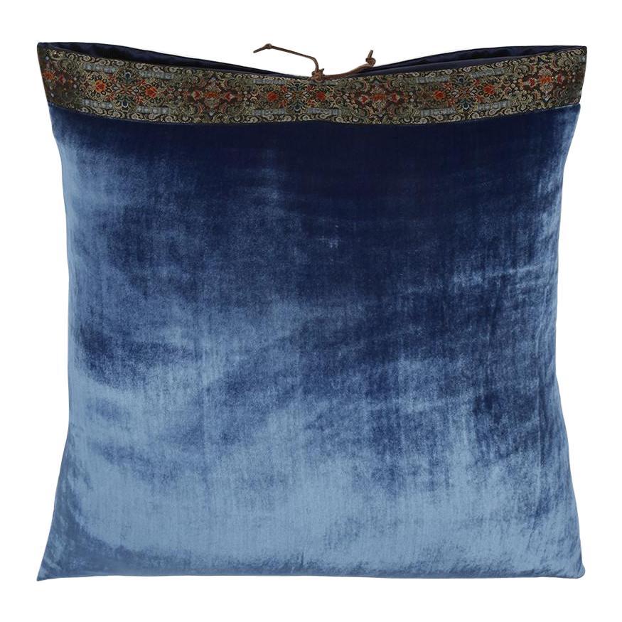 Silk Velvet Throw Pillow Cobalt