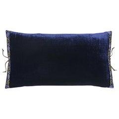 Silk Velvet Throw Pillow Navy
