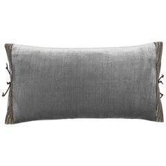 Silk Velvet Throw Pillow Pearl Grey
